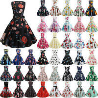 Women Sleeveless Floral Vintage 50s Rockabilly Swing Dress Summer Evening Party
