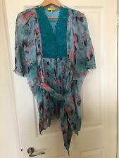 Catherine MALANDRINO Silk top - dress Size 4 turquoise