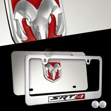 3D DODGE SRT-4 Mirror Stainless Steel License Plate Frame -2PCS FRONT & BACK