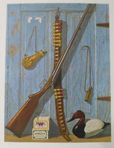 JOE SEME Signed Print - WINCHESTER AD Style w/ Duck Shels Rifle BACK BAY GUNNER