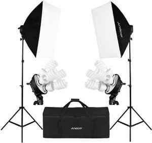 Kit set da studio fotografico Luci con lampada soft box Andoer