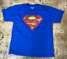 SUPERMAN Blue Short Sleeve T Shirt With Red Superman Logo Youth L Large Dc Comic