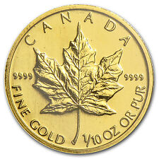 1998 Canada 1/10 oz Gold Maple Leaf BU - SKU #82865