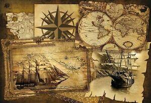 Weltkarte Landkarte Schiffe Blechschild Schild Metal Tin Sign 20 x 30 cm F0097-X