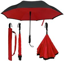"46"" Auto-Open Inverted Inside-Out Upside-Down Umbrella-RainStoppers Rain/Sun UV"