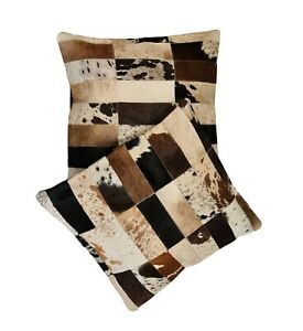 SET OF 2 COWHIDE CUSHION COVERS, PILLOW CASE, LEATHER , PILLOW COVER