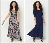 Attitudes by Renee Set of 2 Printed & Solid Maxi Dresses (Multi, PXXS) A375422