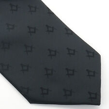 Quality New Craft Masonic Black Square & Compass Design Tie Regalia Masons Gift