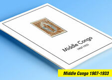 COLOR PRINTED MIDDLE CONGO 1907-1933 STAMP ALBUM PAGES (10 illustrated pages)