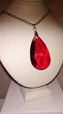 NEW LARGE FACETED RUBY RED TEARDROP CRYSTAL PENDANT AND LONG ROLO NECKLACE