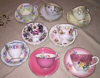 8 Sets TEACUPS Cups SAUCERS Aynsley Foley Delphine Crown Staff Queen Anne PINKS