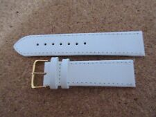 BIRCH WHITE  LEATHER 22MM WATCH STRAP BAND GOLD BUCKLE
