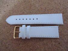 Abedul de Cuero Blanco Reloj Correa de banda Hebilla Oro de 22 mm