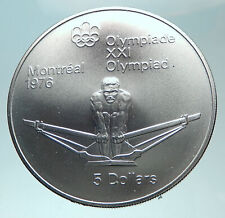 1974 CANADA Queen Elizabeth II OLD Olympics Montreal ROWING Silver Coin i82317