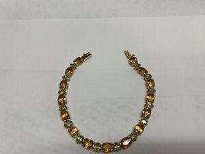 "14k gold citrine and peridot gemstone bracelet 7"" l"