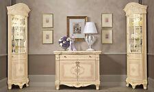 Wohnzimmer Set 2xEckvitrine Anrichte Buffet Beige-Rosa Italienische Stil Möbel