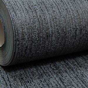 Rasch Plain Textured Black Slight Gloss Thick Free Match Vinyl Wallpaper