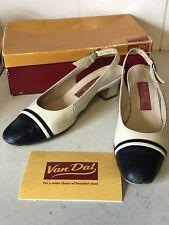 Van Dal Heel 5.5 Size D Width Boxed CHI CHI  navy / Ivory Toe Cap Shoes