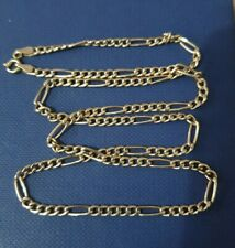 Vintage Solid 9ct Gold Italian Figaro Chain Necklace. Fully Hallmarked.
