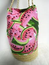 Sac à main marin original pin-up rétro paille et tissu épais pastèque watermelon