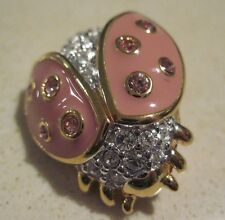 SWAROVSKI Swan Signed Light Pink ENAMEL & CRYSTAL LADYBUG Brooch Pin