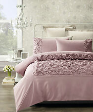 Phase 2 Claudia Blush Pink Faux Silk Rouched SINGLE Size Quilt Doona Cover Set