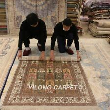 Yilong 4'x6' Home Hand Knotted Silk Area Rug Garden Scene Handmade Carpet 145AB