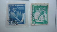 DDR EAST GERMANY STAMP 1952 The Championship of Winter Sports USED PAIR