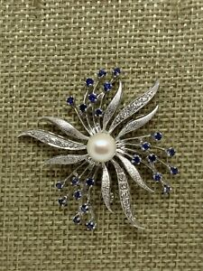 Vintage Estate Flower 14K White Gold Flower Pin Brooch Pearl Sapphire Diamond