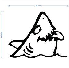 25cm FUNNY SHARK marine grade decal fishing boat,runabout,tinny,car,4x4 sticker