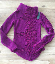 BENETTON Magenta Pink Cowl Cable Sweater Acrylic Wool Alpaca Mohair NEW SMALL