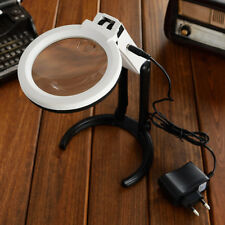 large magnifying glass with led lamp magnifier folding stand table eu plug