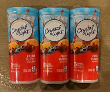 3 Cans of Crystal Light FRUIT PUNCH Pitcher Packets - 18 Total Packets