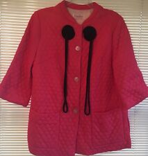 Vintage Quilted Pink Coral Lounge Robe Duster Bed Jacket ART DECO M L