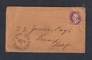 USA 1850's 3C IMPERF ON COVER NORTH ADAMS (Berkshire Cty) TO LENOX MASSACHUSETTS
