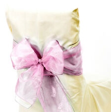 Sheer Organza Fabric Sashes Party event Decor Chair Bows 9 in X 10 ft, Pink