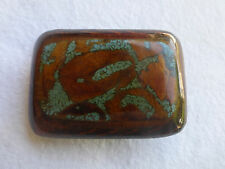 Vintage 1970s Hand Crafted BELT BUCKLE Crushed Turquoise Mixed Woods