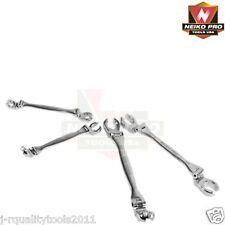 MM 4pc Double Head Offset Flexible Flare Nut Wrench Set Automotive Shop Tools