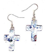 EARRINGS E13 Fused Glass Crosses COBALT & SILVER FOIL CROSS