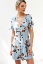 Kimchi Blue Sally Sue Tie Sleeve Mini Dress Size S LF085 JJ 24