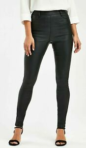 H&M Black Faux Leather Look Jeans Ladies Slim Fit Trousers Jeggings Sizes
