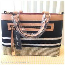 River Island NEW Black And Tan Woven Detail Shopper Tote Handbag 695426 RRP £45