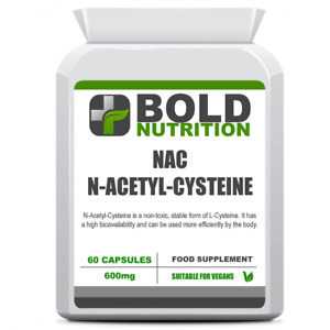 BOLD Nutrition NAC N-Acetyl-Cysteine 600mg 60 Vegan Capsules Liver Lung Health