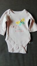 M&S 100%Cotton Embroidered L/Sl 'Little Sister' Bodysuit TINY BABY 48cm PinkBNWT