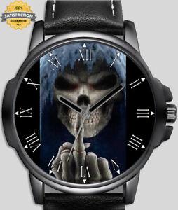 Skull Grim Reaper Middle Finger Unique Wrist Watch FAST UK