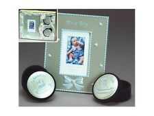 Blue or Pink Enameled Aluminum Photo Frame/Tooth & Curl Box ~ Baby Shower Gift!