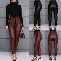 Women's Leggings PU Leather Pants Stretchy Skinny Pencil Trousers High Waisted