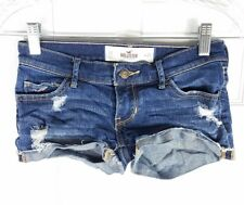 HOLLISTER womens sz 00 distressed denim rolled cuff cut off stretch jean shorts