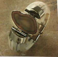 New Tara Mesa Brown Banded Agate & Ivory Color Bone Bangle Bracelet