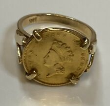 14k Yellow Gold Ring w/ a Type 2 Indian Head Gold Coin, 6.3 g Jewelry